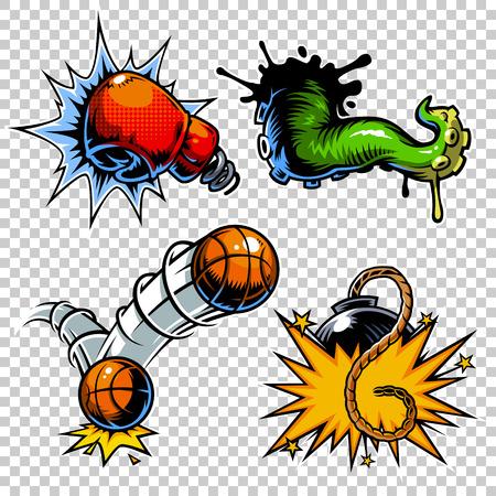 Vector set of color comics icons. Comic book set Illustration