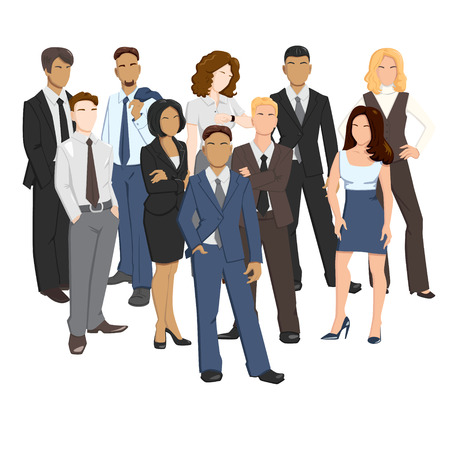 office team: Vector illustrations of business men and women in different poses