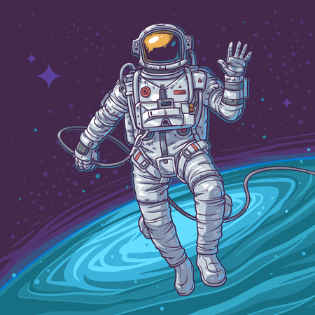 outer clothing: Vector illustration cosmonaut on the cosmic background. Astronaut waving hand