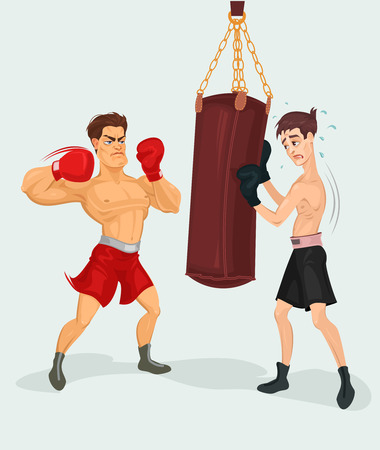 punching: Vector illustration of a boxer practicing with a punching bag