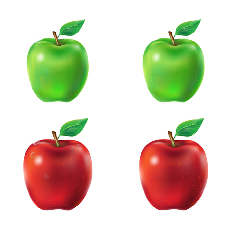 Set of vector illustration of a juicy green and red apples with leaf and dew drops. Illustration