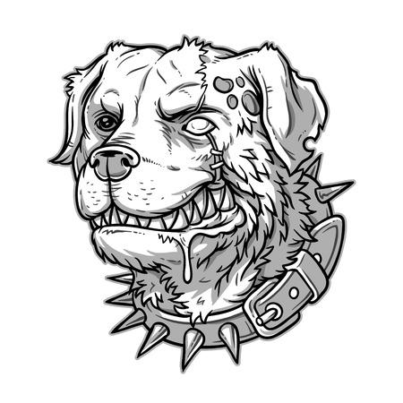 wścieklizna: Vector illustration of evil mad dog grinning teeth