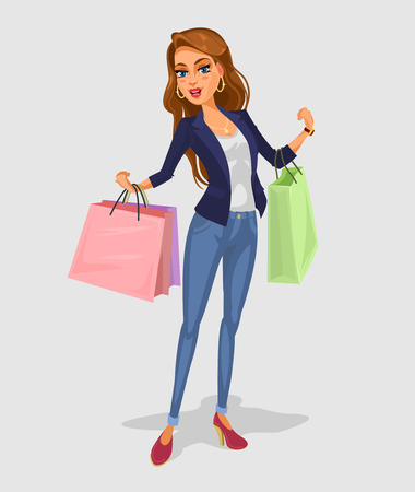 happy shopper: Vector smiling girl holding in hands bags with purchases
