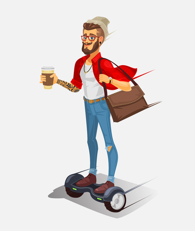 hover: Vector illustration of a cool hipster riding a hoverboard and drinking coffee