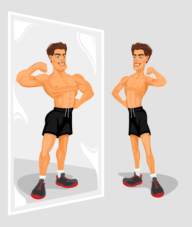 Vector illustration of an athlete looking in the mirror Çizim