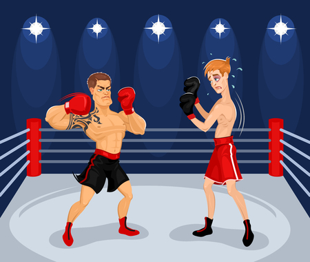 Vector illustration of boxers in the ring. Boxing Championship. Ilustração