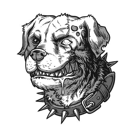 growling: Vector illustration of evil mad dog grinning teeth