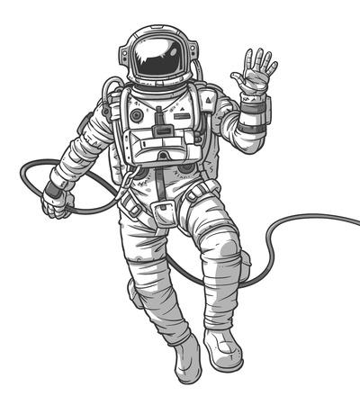 Illustratie kosmonaut, astronaut op een witte achtergrond. Afdrukken voor T-shirts Stock Illustratie