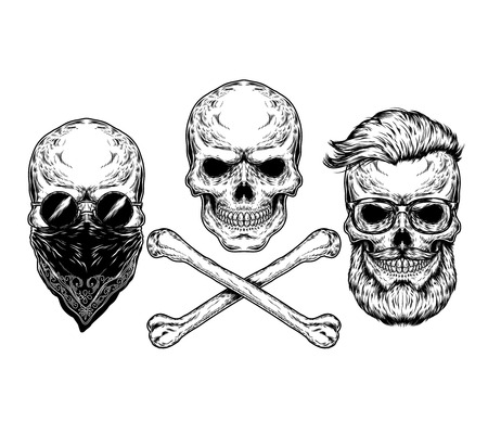 engraving print: Collection of illustrations of skulls and crossbones, engraving. Print for T-shirts