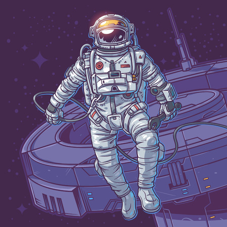 Vector illustration cosmonaut on the cosmic background. Astronaut close to a space station Illustration