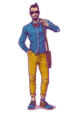 Vector illustration of a fashionable guy in sunglasses Illustration