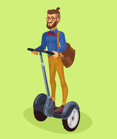 Vector illustration of a fashionable guy riding on a segway