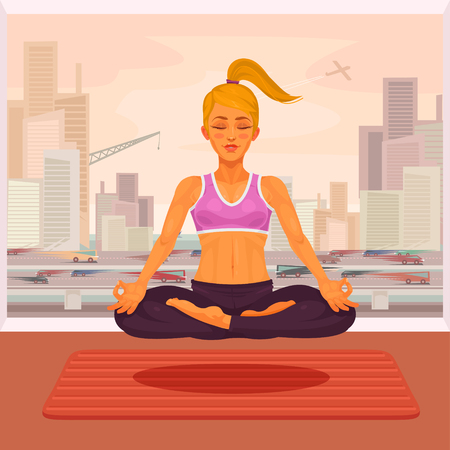 citylife: Vector illustration of a girl yoga in the lotus position. The girl is engaged in yoga outdoors. Illustration