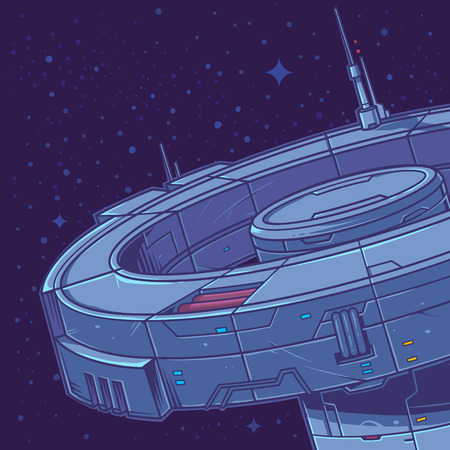 Vector illustration of a space station in the background of stars