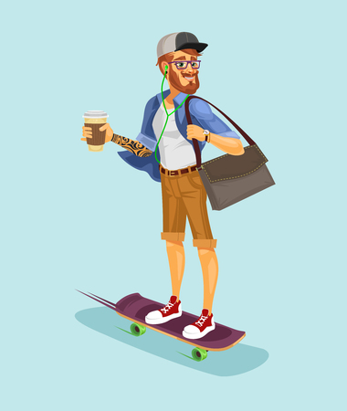Vector illustration of a cool hipster riding a skateboard and drinking coffee Illustration