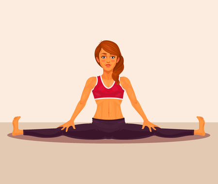 Vector illustration of yoga girl doing the splits. Upavistha Konasana exercise. Illustration