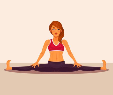 straddle: Vector illustration of yoga girl doing the splits. Upavistha Konasana exercise. Illustration