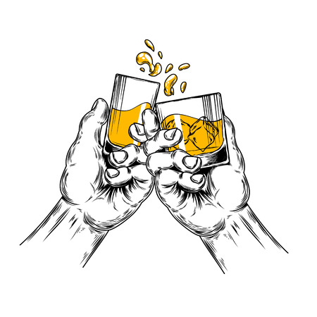 Vector illustration of two hands raised stemware with alcohol in a toast Illustration