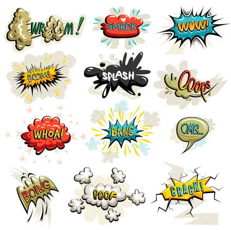 ooops: Vector set of comics icons. Explosion bubbles. Comic book explosion set