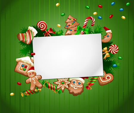 Vector illustration of a green background for the header with a pattern of Christmas sweets