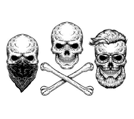 Colección de ilustraciones de vectores de calaveras y huesos, grabado. Imprimir para camisetas Ilustración de vector