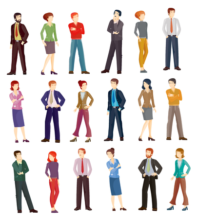 business group: Collection vector illustrations of business men and women in different poses. Flat icons