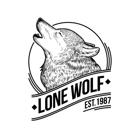 Vector illustration of a howling wolf, engraving. Print for T-shirts, emblem, , insignia