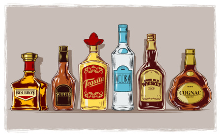 Vector set of bottles with alcohol and stemware, engraving 일러스트