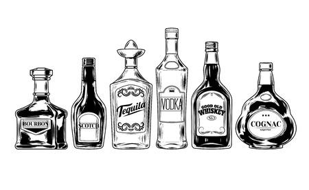 Vector set van flessen voor alcohol, gravure