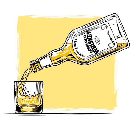 Vectorillustratie die van whisky van een fles in een glas wordt gegoten