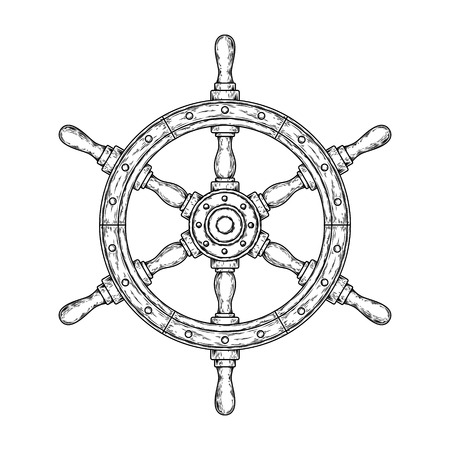 ship steering wheel: Vector illustration of an old nautical wooden steering wheel on a white background. Print for T-shirts.