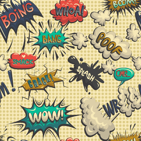ooops: Vector seamless pattern of comic icon, comic book wallpaper Illustration