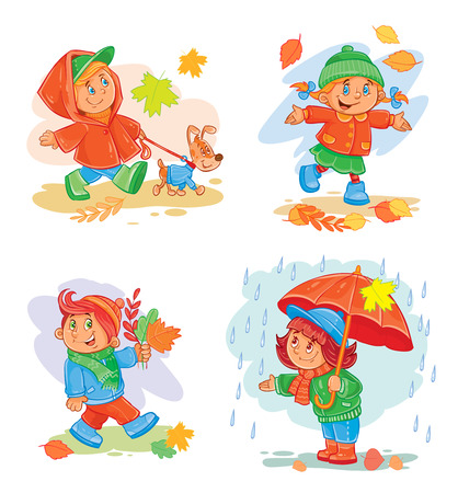 A set of vector icons of small children in autumn clothes Illustration