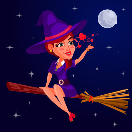 besom: Vector illustration of a young girl witch flying on a broomstick