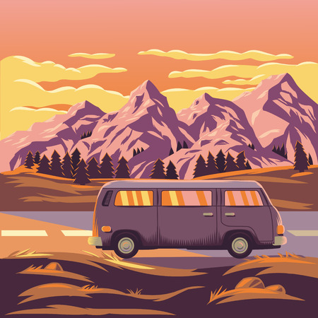 hill distant: Vector illustration of a mountain landscape with the car in the foreground
