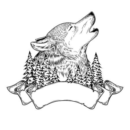 illustrazione vettoriale di un lupo che ulula con nastro, incisione.