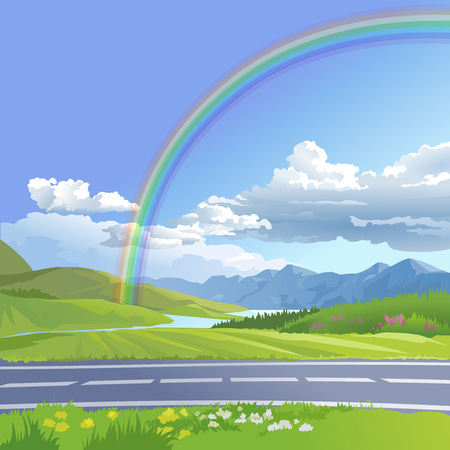rocky road: Vector illustration of a hilly landscape with rainbow