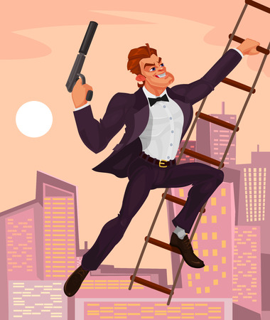 Vector illustration of a secret agent with a gun in his hand climbs the ladder Illustration