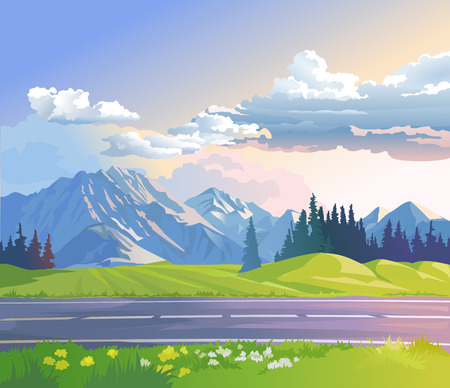 coniferous forest: Vector illustration of a mountain landscape with coniferous forest