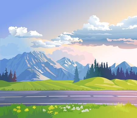 coniferous forest: Vector ilustración de un paisaje de montaña con bosques de coníferas