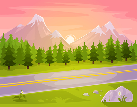 hill distant: Vector illustration of a mountain landscape with coniferous forest