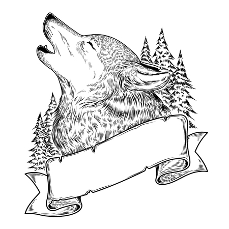 Vector illustration of a howling wolf with ribbon, engraving.
