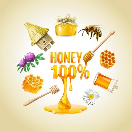 Set of vector honey icons. Bee, honeycomb, a jar of honey, hive Illustration