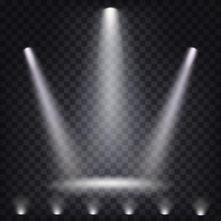 Set of vector scenic spotlights on a dark background Vettoriali