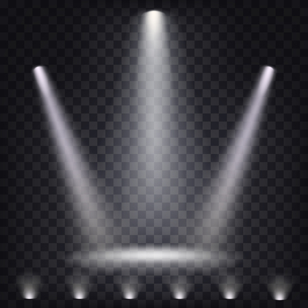 Set of vector scenic spotlights on a dark background Stock Illustratie