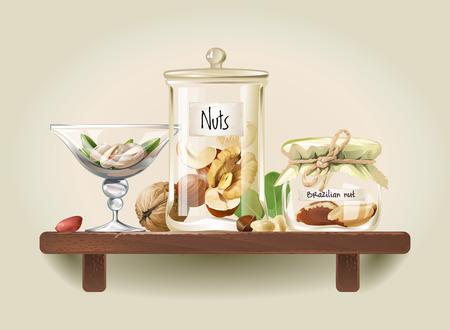 Pistachios, walnuts, cashews, hazelnuts, Brazil nuts, pine nuts, peanuts are in glass jars on wooden shelf