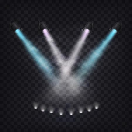 Set of vector scenic spotlights in fog on a dark background