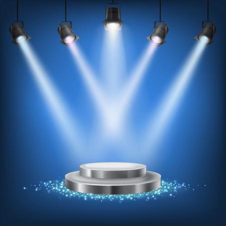 Ensemble de spots scéniques de vecteur sur fond sombre avec un podium Banque d'images - 67557289