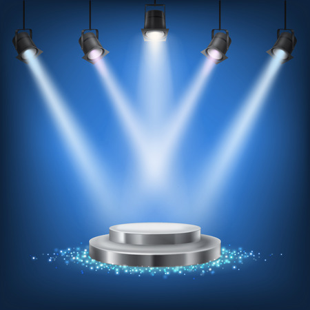 Set of vector scenic spotlights on a dark background with a podium