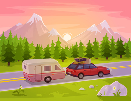 hill distant: Vector illustration of a mountain landscape with coniferous forest and the car in the foreground
